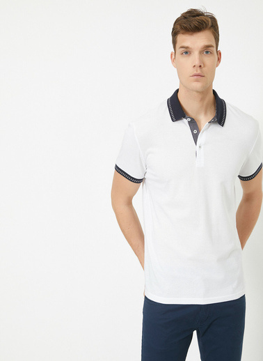Koton Polo Yaka Kisa Kollu T-Shirt Beyaz